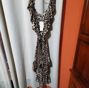 Nwt, leopard print wrap high low dress